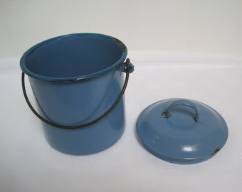 Vintage French Blue Enamel Pail Enamelware Kitchenalia Canister Container
