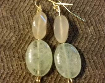 Light Teal and Iridescent Stone Dangle Earrings