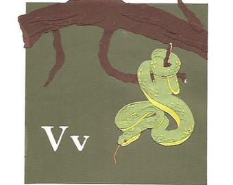 V is for Viper - Original Cut Paper Art