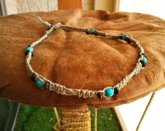 Hemp Wrap Bracelet with Buffalo Turquoise and Wood beads