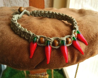 Triple Braided Hemp Necklace with Glass Chilli Peppers