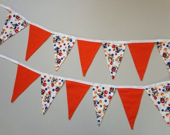Cute Monkeys and Balls Flag Bunting - with solid Orange Flags