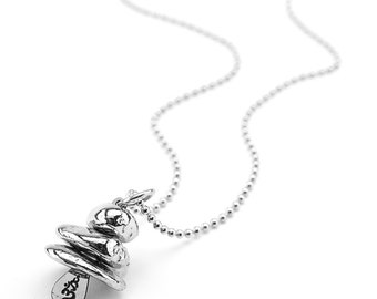 Silver Recyled Metal Cast Stone Stack Cairn Necklace