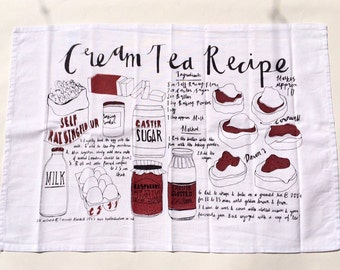 Cream Tea Recipe Screenprinted Tea Towel