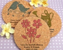 Garden Wedding Favors, Wedding Favors Rustic, Bridal Shower Gifts, Round Cork Coasters - Set of 12