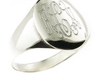 925 Sterling Silver Womens Signet Monogram Ring