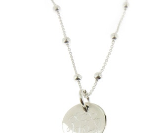 Monogrammed .925 Sterling Silver Link and Bead Necklace Baby Teen and Adult Sizes Availbale