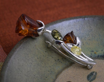Rose Amber Brooch