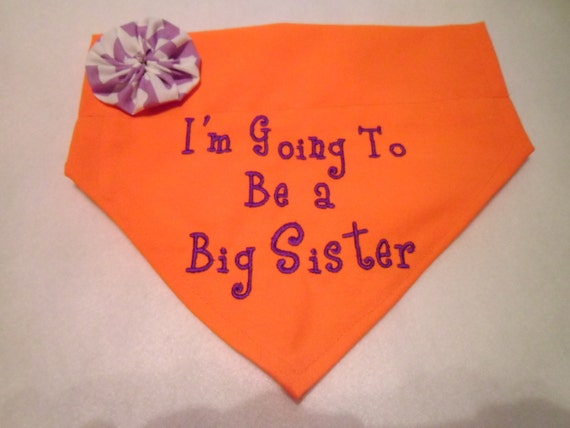 Dog Bandana, Big Sister, I'm Going to be a Big Sister,  Flower, Collar, Scarf,  Baby Announcement