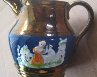 Circa 1880 Vintage Copper Lustreware Lusterware Staffordshire Creamer Pitcher