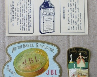 3 Vintage Paper Labels Cosmetics Labels Vintage Ephemera Assorted