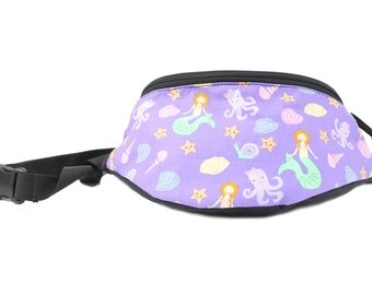 Fanny pack Lavender Mermaid Sea fabric - Cute  - Hip Waist Bag for travel, sport, and hiking with 2-zippered compartments
