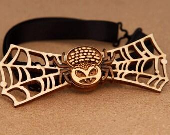 Halloween Spider Wood Bow Tie. Handmade laser cut party gift!