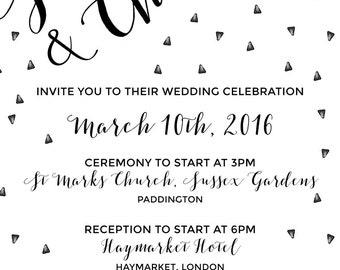 Black and White wedding invitation graphic template