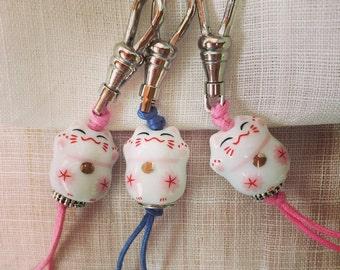 ZIP PULL Maneki Neko Lucky Kitty Cat Zipper Pulls kawaii pink or blue cord