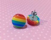 Rainbow Stripes Earrings, Chunky Button Studs, Rainbow Stud Earrings, Colorful Striped Studs, Stainless Steel Studs, KreatedByKelly