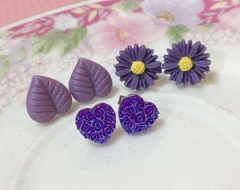 Purple Earring Set, Purple Daisy Stud Earrings, Purple Leaf Studs, Purple Floral Heart Studs, Purple Flower Earrings, Stocking Stuffer (ES1)