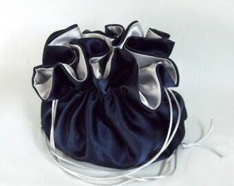 Satin Bridal Money Purse   Money Dance Bag    Navy Blue and Silver  No Pockets