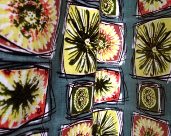 50s 60s Atomic Starburst Curtain Panels - Set of 2 Curtains - Mid Century Cotton Print Fabric 31 x 26 Each Panel - Vintage Fabric Yardage
