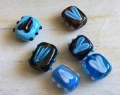 Lampwork Glass Heart Beads in Blues