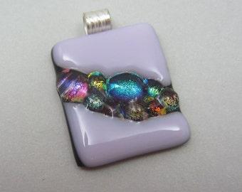 Fused pink dichroic glass pendant Dichroic river unique pendant art glass Dichroic jewelry