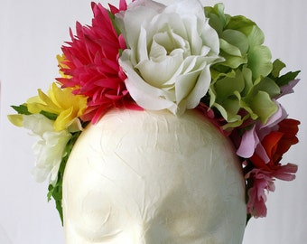 Ivory Frida Kahlo Flower Crown Day of the Dead Floral Headband Pastel Mexican Wedding Flowers