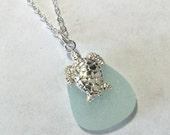 Beach Glass Turtle Necklace Gorgeous Pale Aqua Sea Glass