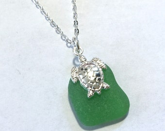 Beach Glass Turtle Necklace Gorgeous Green Sea Glass