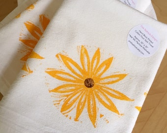 Sunflower Kitchen Towel - Yellow Flower - Soft Cotton Flour Sack Towel - Hand Block Printed