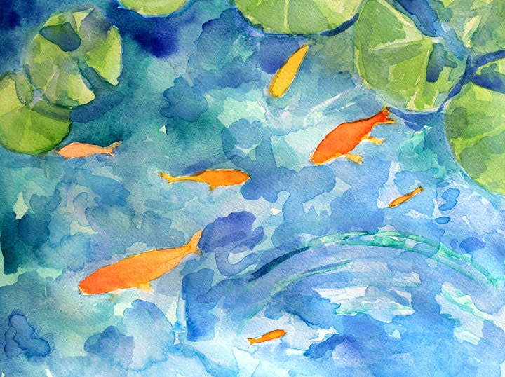 Koi pond colorful fish watercolor painting unframed by for Colorful pond fish