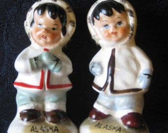 SALE Vintage Eskimo/ Inuit Children Salt Pepper Shakers, Alaska Souvenir Salt and Pepper Shakers