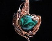 Copper Malachite Wire Wrapped Pendant