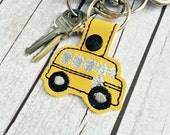 Yellow Bus Keyring bagcharm purse charm backpack schoolbus school bus driver field trip band bus accessory by babymoon
