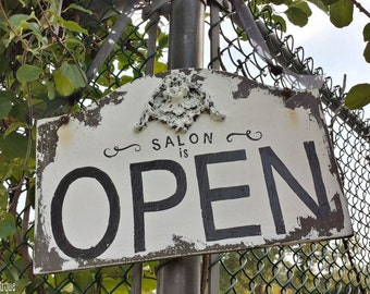 Open & Closed BUSINESS SIGN, Salon Sign, Double Sided Sign, Door Hanger SIgn, Vintage Business Sign