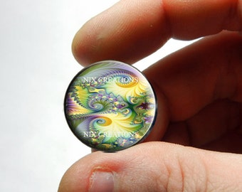 Glass Cabochon Cameo - Fractal Design 3 - for Jewelry and Pendant Making