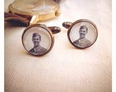 Heirloom Photo Jewelry to CUSTOMIZE - antiqued brass cufflinks, gift for him, weddings, holidays, birthdays