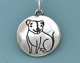 The Happy Rescued Pit Bull Necklace in Sterling Silver - Custom Stamped with Dog's Name and a Date - 100% Donated to Rescue