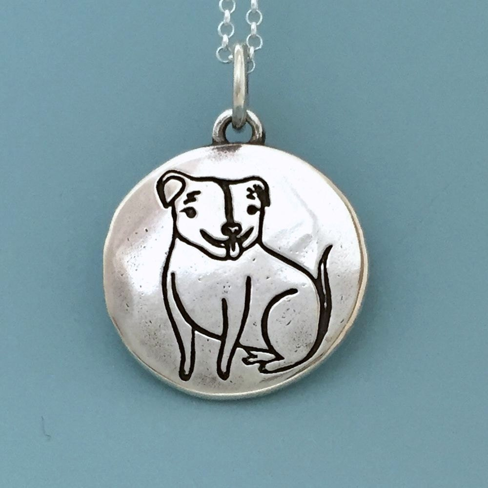 the happy rescued pit bull necklace in sterling silver