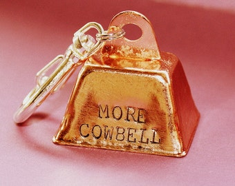 More Cowbell Key Chain - Hand Stamped Key Ring