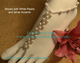 Swarovski Pearl Weave Beach Wedding Barefoot Sandals