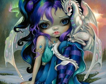 Frost Dragonling baby dragon fairy art print by Jasmine Becket-Griffith 8x10 ice winter snow northern lights aurora borealis