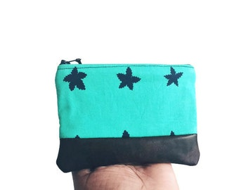 Stars in Blue Leather Coin Purse, Small Leather Wallet, Zipper Pouch, Change Purse, Coin Pouch