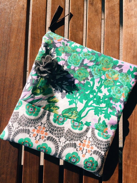 Floral Gray Fold-Over Clutch Purse, Fabric Clutch Bag, Women's Evening Bag