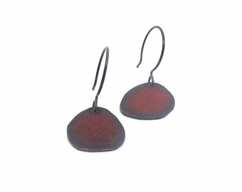 Organic Nugget Earrings - Hand Cut Copper and Etched Enamel