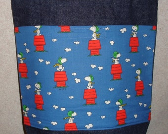 New Medium Denim Tote Bag Handmade with Snoopy Doghouse Red Baron Fabric