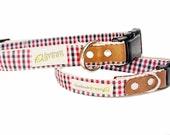 Red and Black Plaid. Hemp Dog Collar. Adjustable. Small Medium Large.