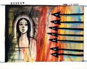 Framed Original Mixed Media ArtMamaToto Figurative Painting - One Thousand Thousand No. 333,567 - OOAK