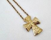 Cross Vintage Pendant Necklace - Sarah Coventry 1970's Golden Splendor - Cross Religious Christian Jewelry Gift