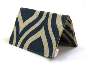 Mini Wallet / Card Holder / Business Card Holder / Card Case / Gift Card Holder/ Small Wallet - Navy Mod Fabric