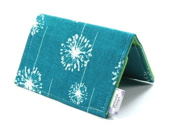 Mini Wallet / Card Holder / Business Card Holder / Card Case / Gift Card Holder/ Small Wallet - Teal Dandi Fabric